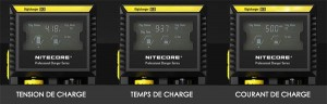 écran LCD Chargeur Nitecore D2
